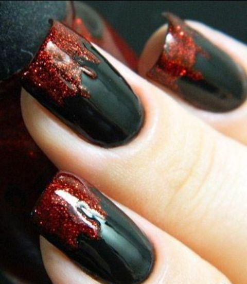 Blood Dripping Nails With Glitter Red Polish