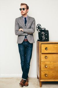 Picture Of jeans, a grey tweed jacket and a tie