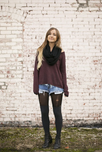 Picture Of With Loose Shirt Black Scarf Denim Shorts And