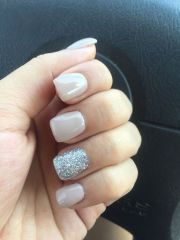 nude nails with silver