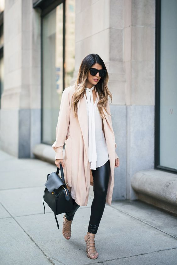 Picture Of faux leather leggings a long white shirt a