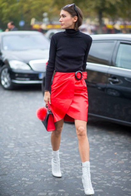 Picture Of With Black Turtleneck Red Skirt And Mini Bag