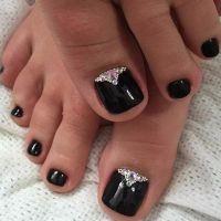 Picture Of black pedicure with rhinestones