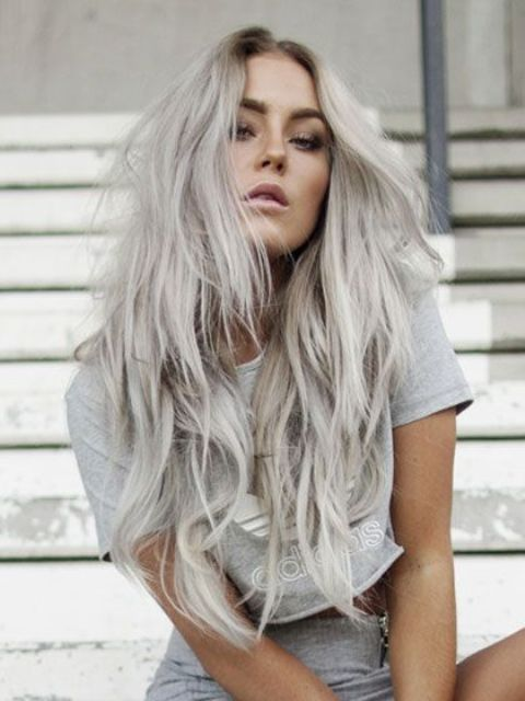 Picture Of long blonde grey hair with waves and a cool ...