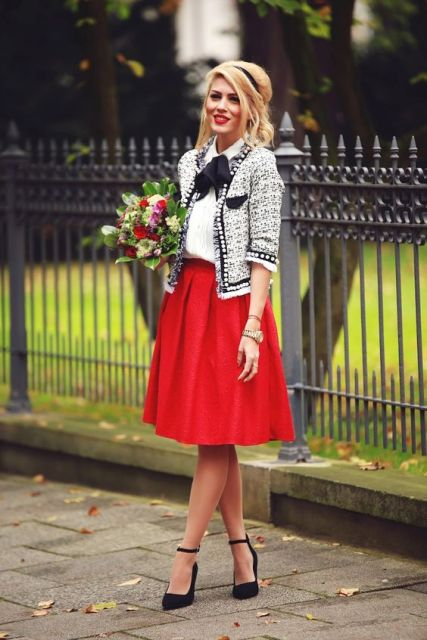 22 Excellent Outfits With Red Skirts  Styleoholic