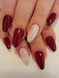Picture Of hot red and white glitter nails for the winter