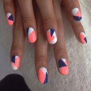 color block geo nails
