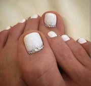 white nails with silver