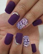 matte deep purple nails