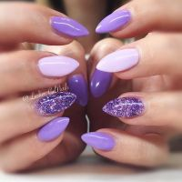 Picture Of purple, purple glitter and blush nails look ...