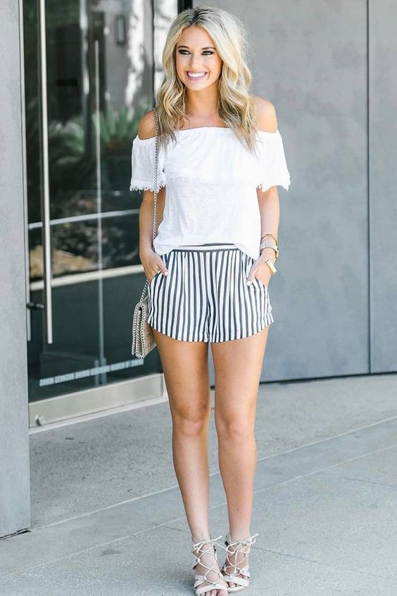 Picture Of Striped Shorts A White Off The Shoulder Top