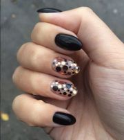 black rounded nails