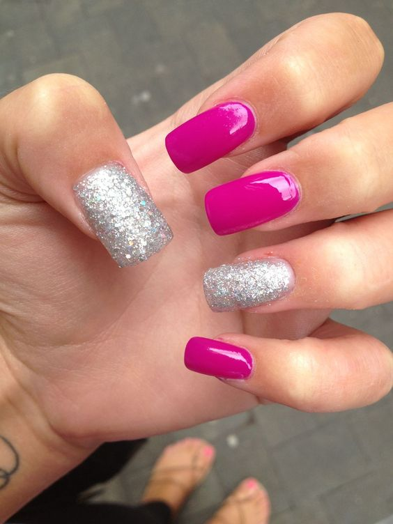 Silver And Pink Nails : silver, nails, Picture, Nails, Silver, Glitter