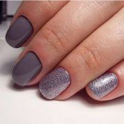 grey manicure and silver