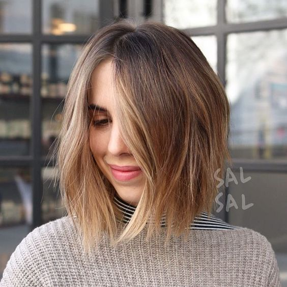 Picture Of A Short Shaggy Bob With Blonde Balayage To Make