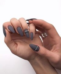 Picture Of graphite grey matte nails with silver and black ...