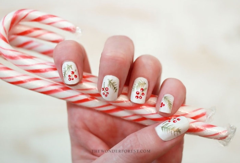Picture Of Cool Diy Holiday Nail Art With Spruce And Berries 1
