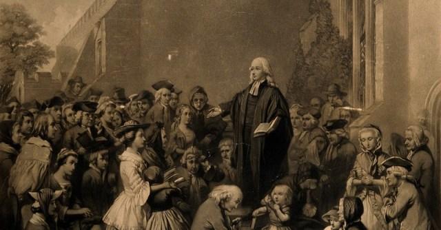 John Wesley teaching outside a church