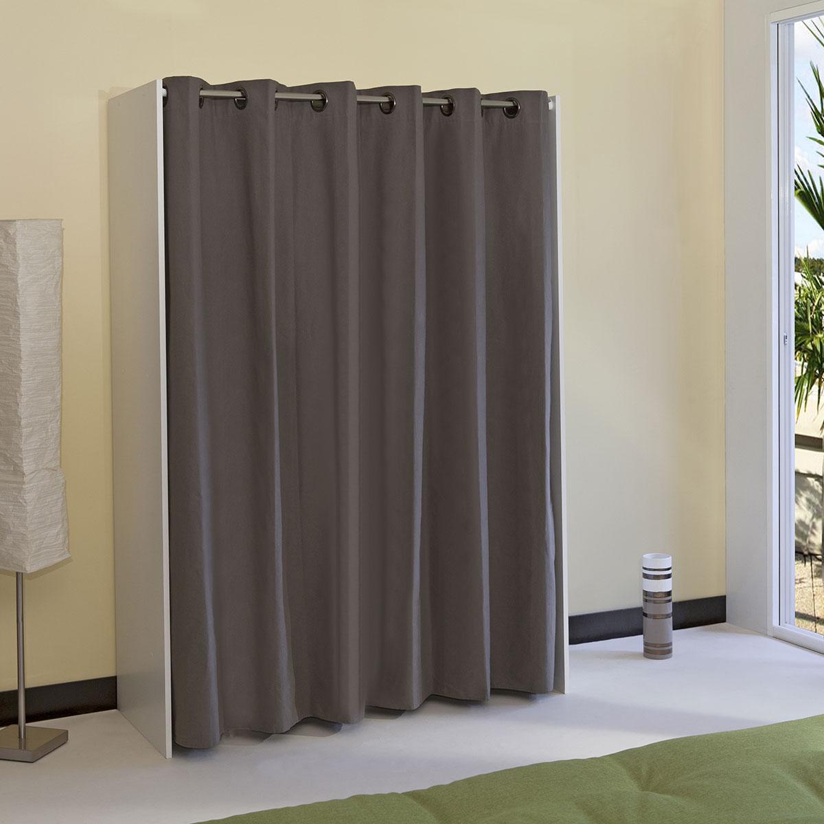 Armoire dressing extensible 1 colonne avec rideau
