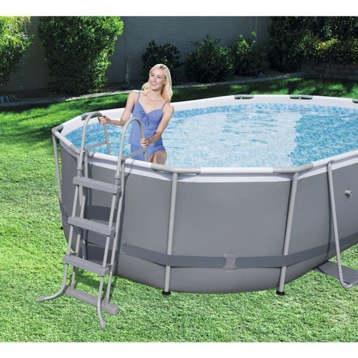 Bestway Power Steel Frame Pools  Kit Piscine ovale 424 x 250 x 100 cm 7250 L  Comparer avec