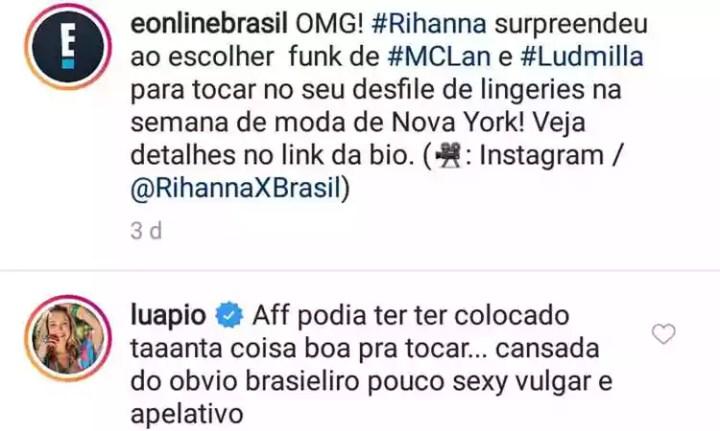 Luana Piovani comentou desfile há dois dias em conta de canal de TV onde trabalha (foto: Reprodução da internet/Instagram)