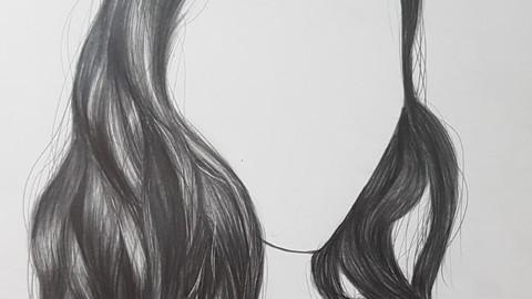 Curso de dibujo realista volumen 3 - dibujo de cabello negro