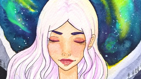 [Udemy Coupon] Paint a watercolor galaxy manga portrait (with line art) 2