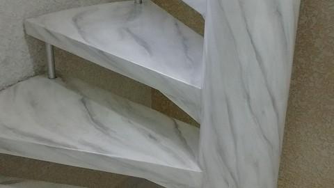 Curso de Marmorização em Escadas e Paredes - Branco Carrara.