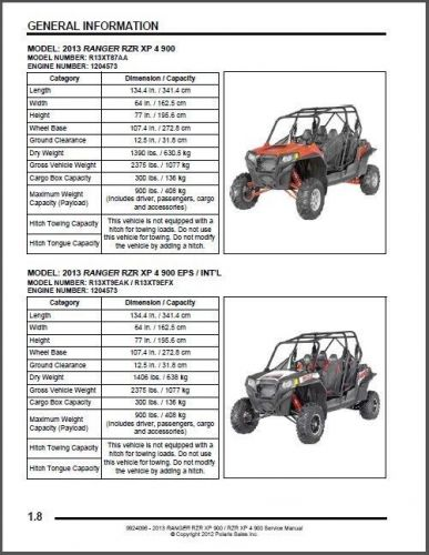 2013 Polaris Ranger RZR XP 900 / XP 4 900 Service Repair