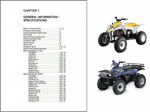 99-00 Polaris all ATV Service Repair Manual CD Trail