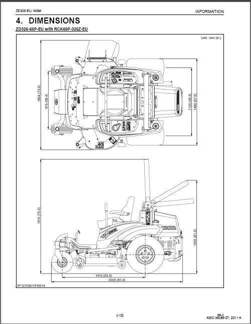 Kubota ZD326 Zero Turn Mower WSM Service Workshop Manual