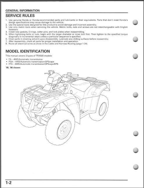 2005-2012 Honda TRX500FA Fourtrax Foreman Rubicon Service