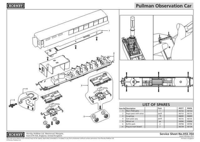 Hornby No.354 Pullman Observation Car Service Sheets by