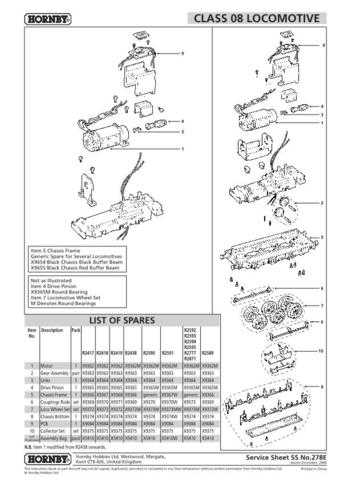 Hornby No.278E Class 08 Service Sheets by download