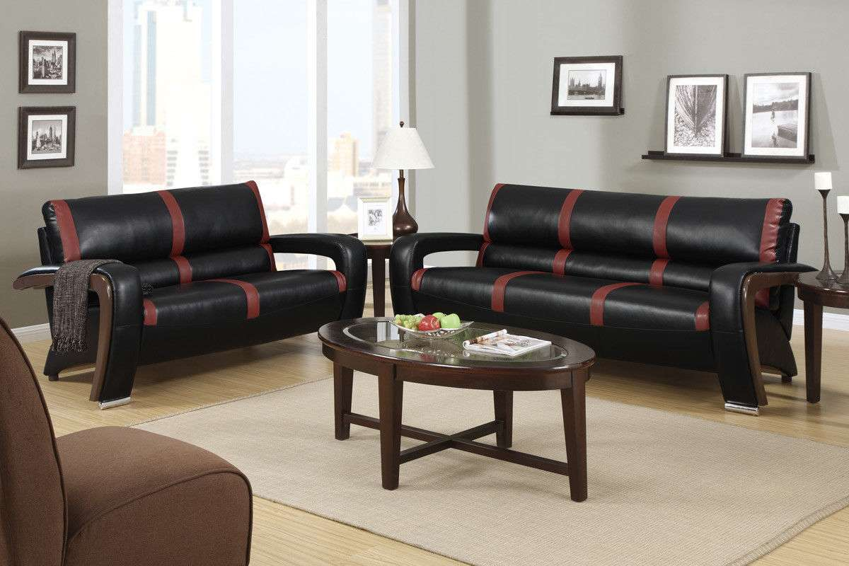 almafi 2 piece leather sofa set and love seat queen sleepers on sale modern black stripe design living
