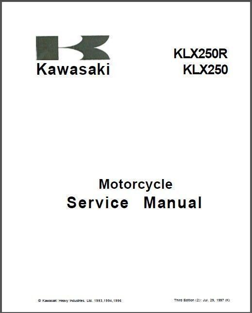 Kawasaki KLX250 KLX250R KLX300R Service Repair Manual CD
