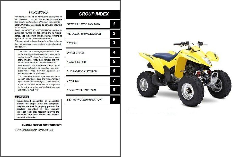 04-09 Suzuki LT-Z250 QuadSport Service Repair Workshop