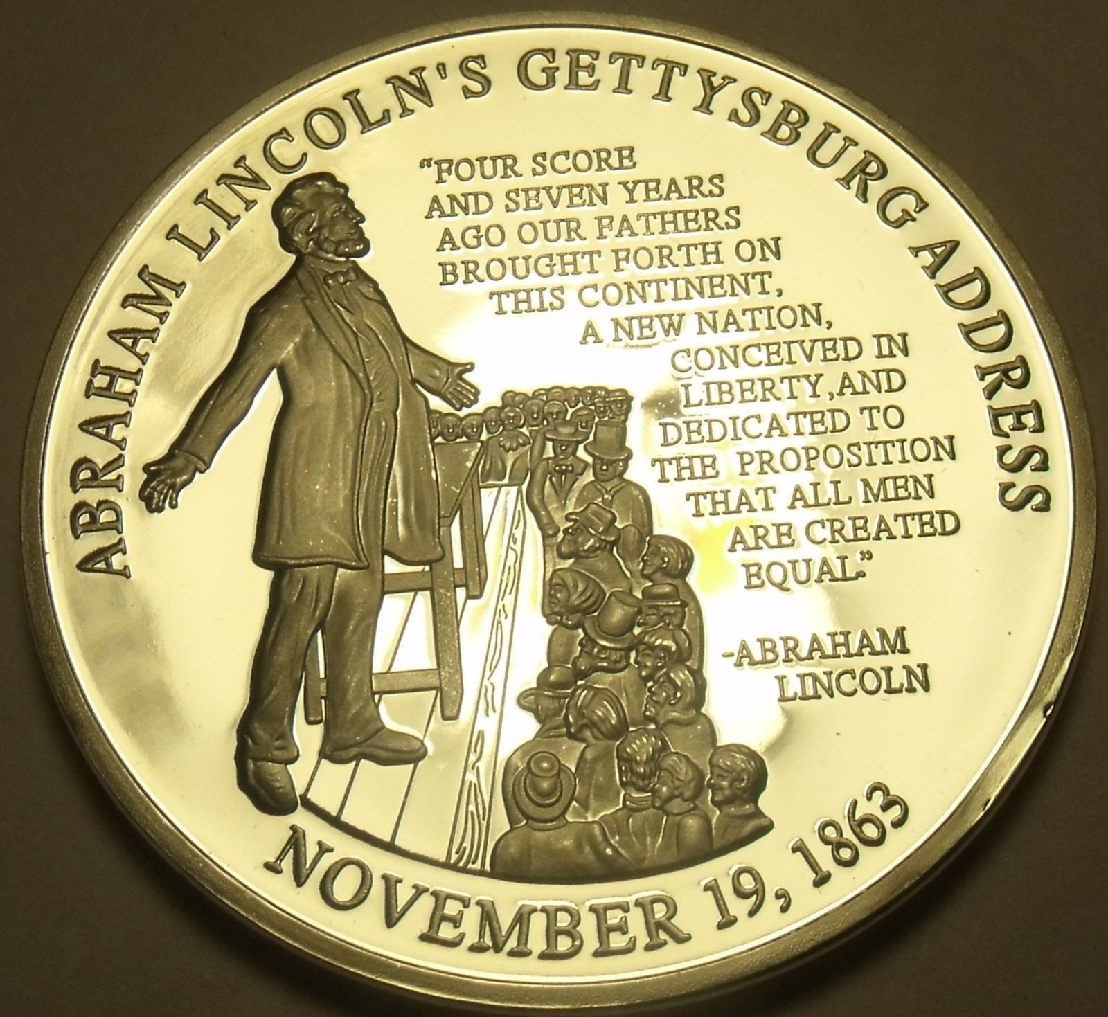Silver Plated Proof Abraham Lincoln Gettysburg Address