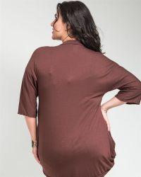 J&D Fashion Brown 3/4 Sleeves V-Neck Knit Cardigan Jr Plus ...