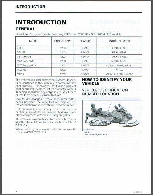 2009-2010 Ski-Doo REV XR Service Repair Manual CD. BRP