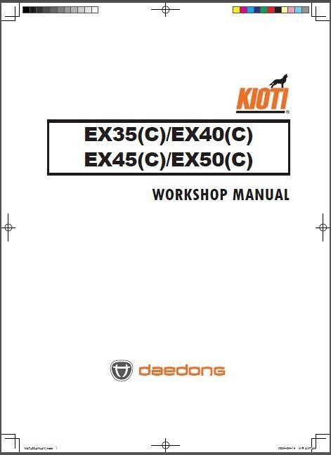 Kioti EX35 EX40 EX45 EX50 Tractor Repair Service Manual CD