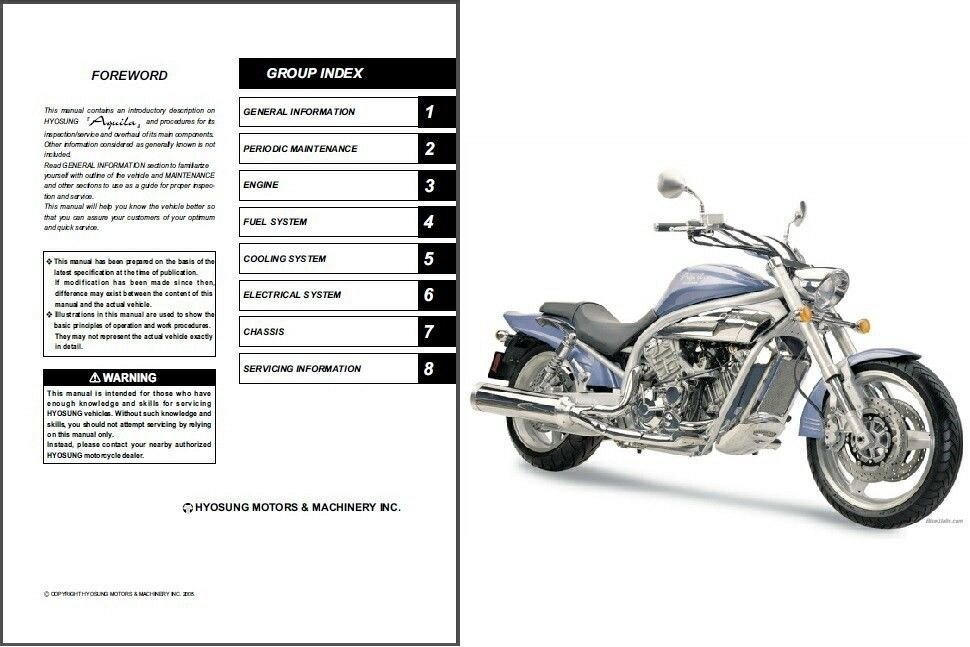 Hyosung GV650 Aquila 650 Service Manual on a CD For Sale