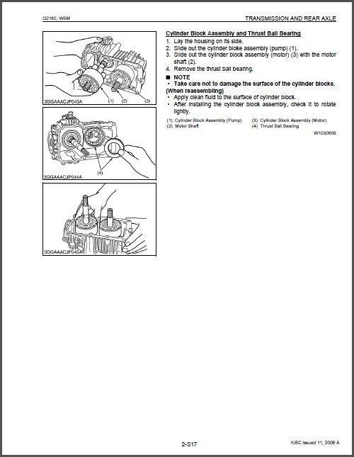 Kubota G2160 / G2160-R48S / G2460G Garden Lawn Tractor WSM