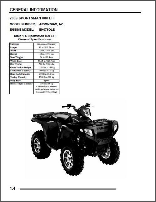 2009 Polaris Sportsman 800 EFI / X2 800 EFI / Touring