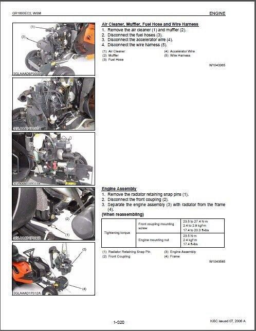 Kubota GR1600 (GR1600EC2) Diesel Mower Tractor WSM Service