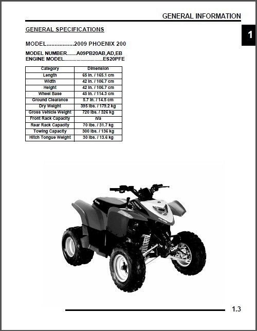 2009 Polaris Phoenix 200 Service Repair Workshop Manual CD