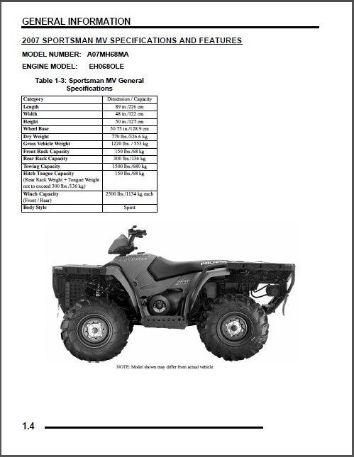 2007 Polaris Sportsman 700 MV ATV Service Repair Manual CD