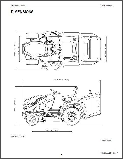 Kubota GR2100 (GR2100EC) Diesel Ride-On Tractor Mower WSM