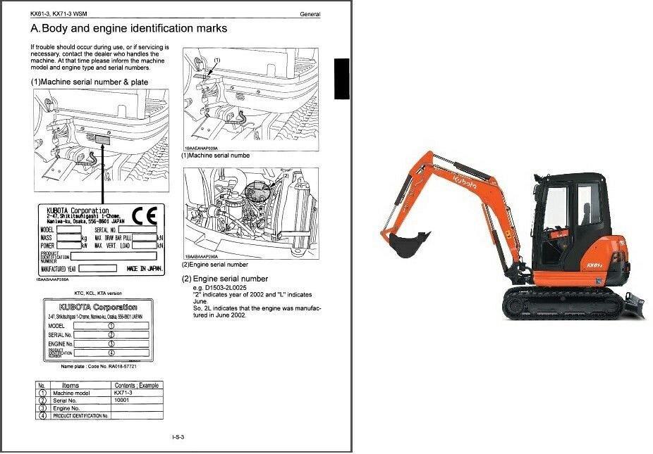 Kubota KX61-3 / KX71-3 Mini Excavator WSM Service Manual