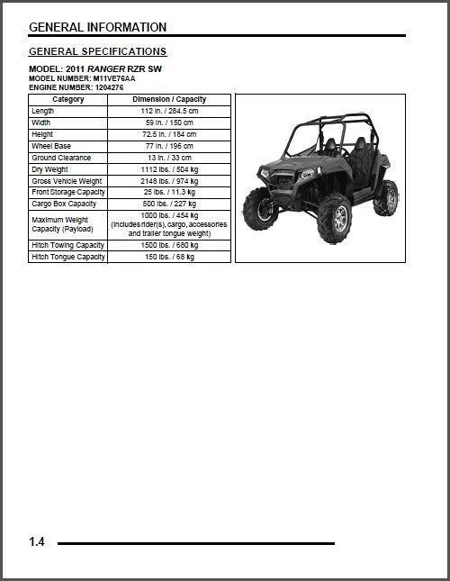 2011 Polaris Ranger RZR SW Service Repair Workshop Manual